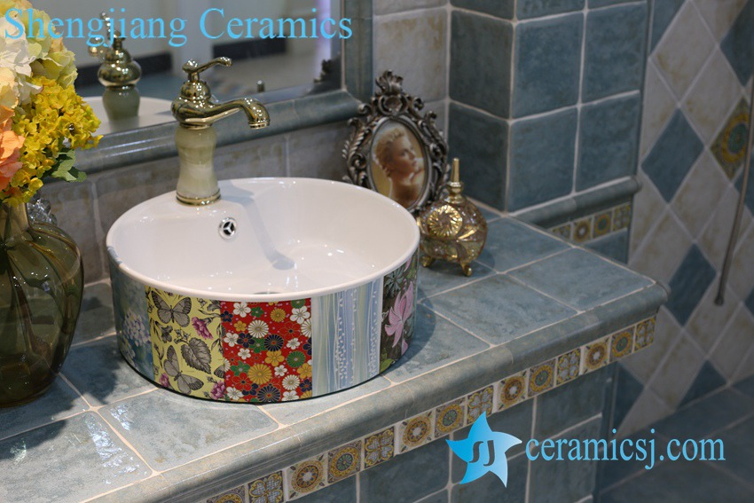 LT-1A8399 LT-1A8396 Jingdezhen art ceramic wash basin / unique bathroom sink - shengjiang  ceramic  factory   porcelain art hand basin wash sink