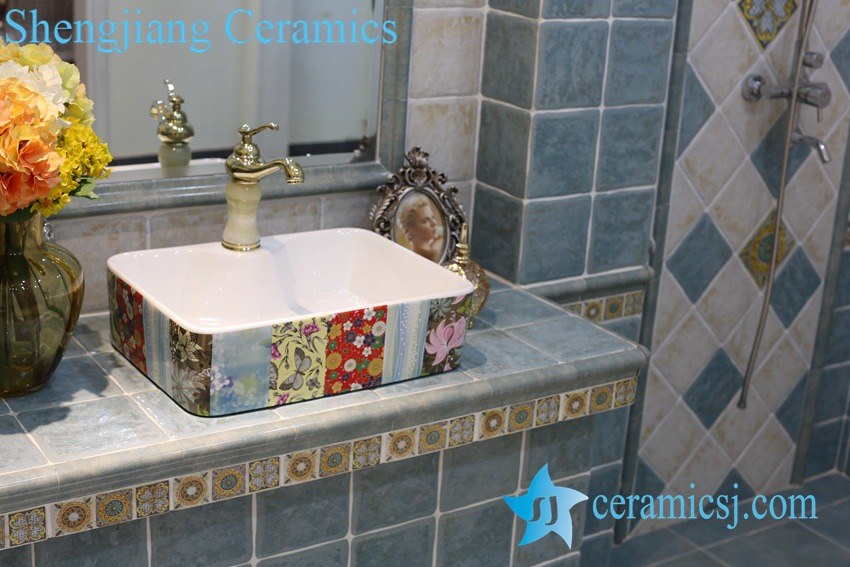 LT-1A8415 LT-1A8416 Jingdezhen art ceramic wash basin / unique bathroom sink - shengjiang  ceramic  factory   porcelain art hand basin wash sink
