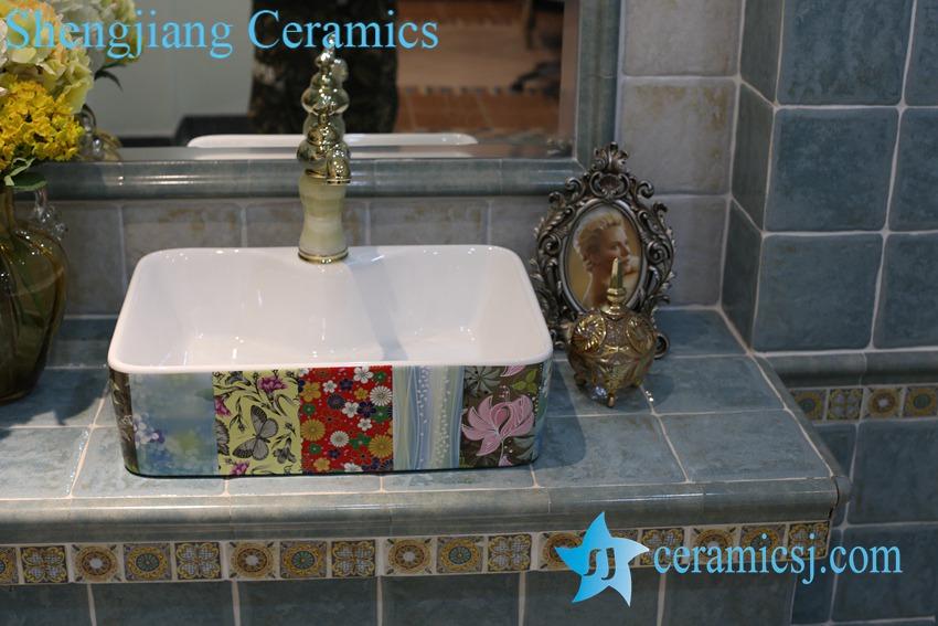 LT-1A8416-1 LT-1A8416 Jingdezhen art ceramic wash basin / unique bathroom sink - shengjiang  ceramic  factory   porcelain art hand basin wash sink