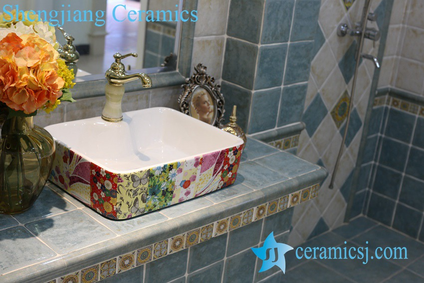 LT-1A8424 LT-1A8426 Jingdezhen art ceramic wash basin / unique bathroom sink - shengjiang  ceramic  factory   porcelain art hand basin wash sink