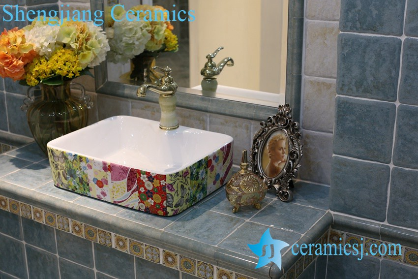 LT-1A8427 LT-1A8426 Jingdezhen art ceramic wash basin / unique bathroom sink - shengjiang  ceramic  factory   porcelain art hand basin wash sink