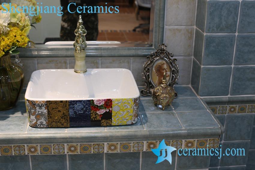 LT-1A8439-1 LT-1A8439 Jingdezhen art ceramic wash basin / unique bathroom sink - shengjiang  ceramic  factory   porcelain art hand basin wash sink