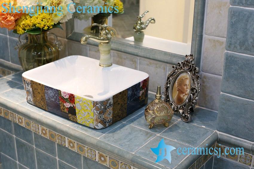 LT-1A8440 LT-1A8439 Jingdezhen art ceramic wash basin / unique bathroom sink - shengjiang  ceramic  factory   porcelain art hand basin wash sink