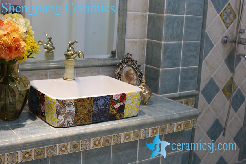 LT-1A8442 LT-1A8439 Jingdezhen art ceramic wash basin / unique bathroom sink - shengjiang  ceramic  factory   porcelain art hand basin wash sink