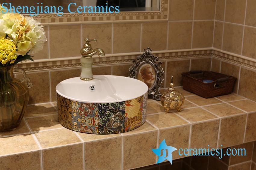 LT-1A8457 LT-1A8461 Jingdezhen art ceramic wash basin / unique bathroom sink - shengjiang  ceramic  factory   porcelain art hand basin wash sink