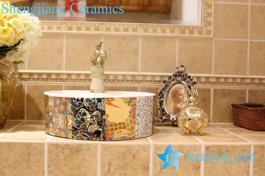 LT-1A8461-1 LT-1A8461 Jingdezhen art ceramic wash basin / unique bathroom sink - shengjiang  ceramic  factory   porcelain art hand basin wash sink