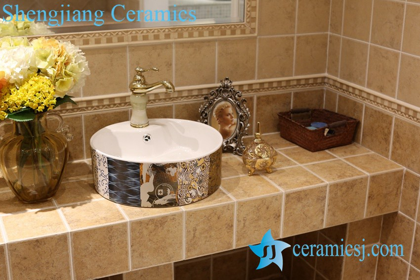 LT-1A8462 LT-1A8463 Jingdezhen art ceramic wash basin / unique bathroom sink -