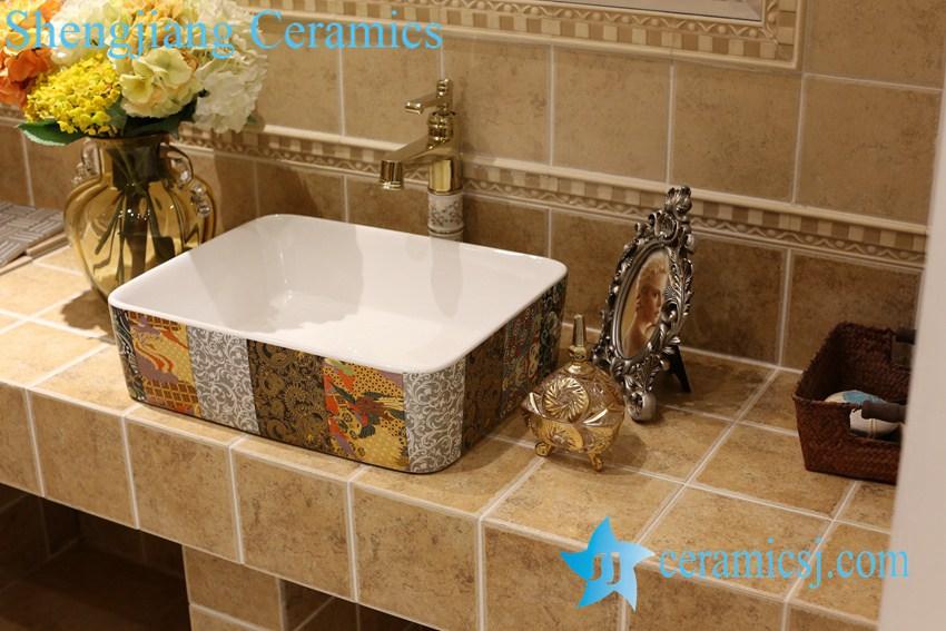 LT-1A8503 LT-1A8499 Jingdezhen art ceramic wash basin / unique bathroom sink - shengjiang  ceramic  factory   porcelain art hand basin wash sink