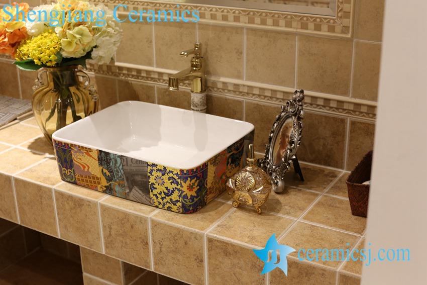 LT-1A8509 LT-1A8504 Jingdezhen art ceramic wash basin / unique bathroom sink - shengjiang  ceramic  factory   porcelain art hand basin wash sink