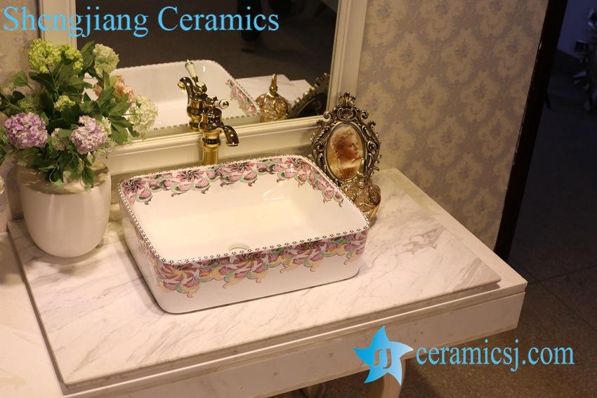 LT-1A8527 LT-1A8529 Jingdezhen art ceramic wash basin / unique bathroom sink - shengjiang  ceramic  factory   porcelain art hand basin wash sink
