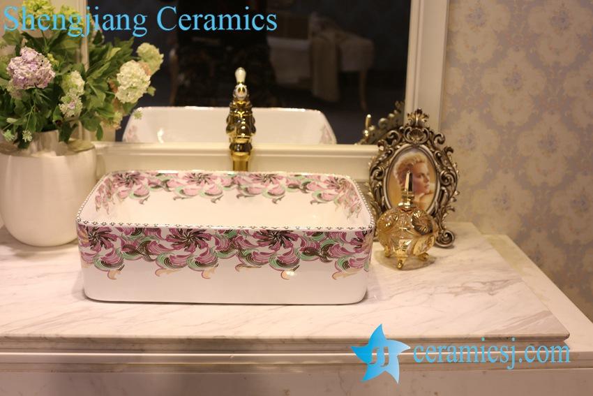 LT-1A8529 LT-1A8529 Jingdezhen art ceramic wash basin / unique bathroom sink - shengjiang  ceramic  factory   porcelain art hand basin wash sink