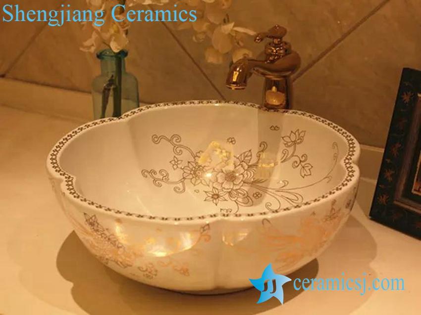 LT-20160-5 LT-20160 (5) Jingdezhen art ceramic wash basin / unique bathroom sink - shengjiang  ceramic  factory   porcelain art hand basin wash sink