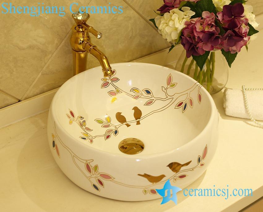LT-X1A1308 LT-X1A1308 Jingdezhen China art ceramic bathroom counter top washbasin - shengjiang  ceramic  factory   porcelain art hand basin wash sink