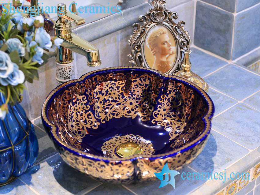 LT-X1A3624-1 LT-X1A3624 Jingdezhen art ceramic wash basin / unique bathroom sink - shengjiang  ceramic  factory   porcelain art hand basin wash sink