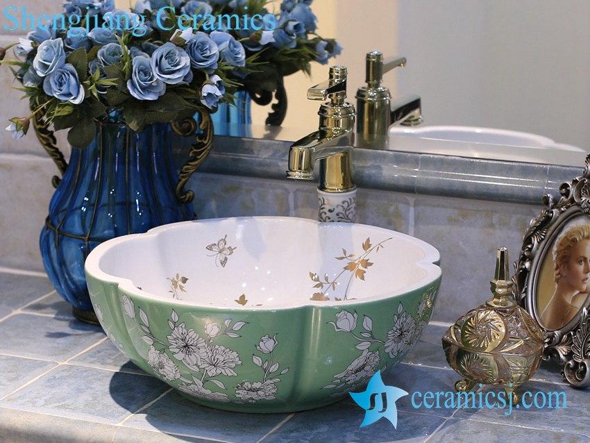 LT-X1A3867 LT-X1A3884 Jingdezhen art ceramic wash basin / unique bathroom sink - shengjiang  ceramic  factory   porcelain art hand basin wash sink