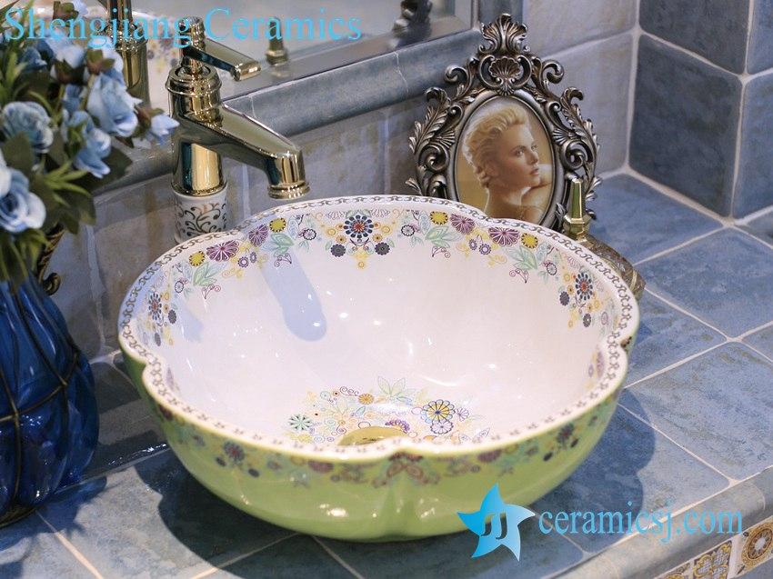 LT-X1A4074 LT-X1A4066 Jingdezhen art ceramic wash basin / unique bathroom sink - shengjiang  ceramic  factory   porcelain art hand basin wash sink
