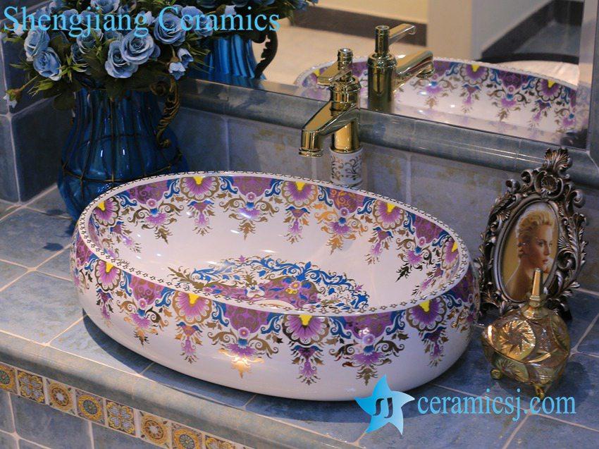 LT-X1A4236 LT-X1A4236 Jingdezhen art ceramic wash basin / unique bathroom sink - shengjiang  ceramic  factory   porcelain art hand basin wash sink