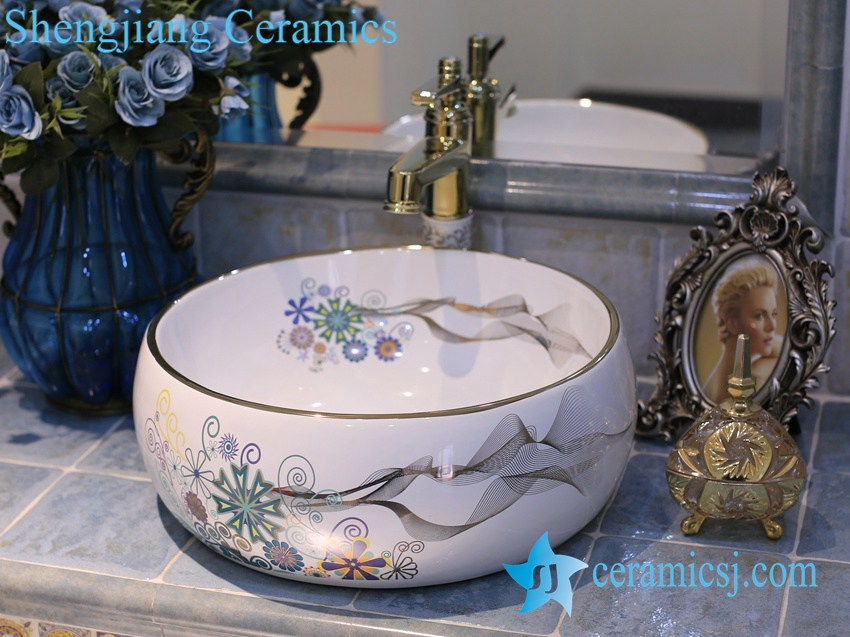 LT-X1A4355 LT-X1A4355 Jingdezhen art ceramic wash basin / unique bathroom sink - shengjiang  ceramic  factory   porcelain art hand basin wash sink