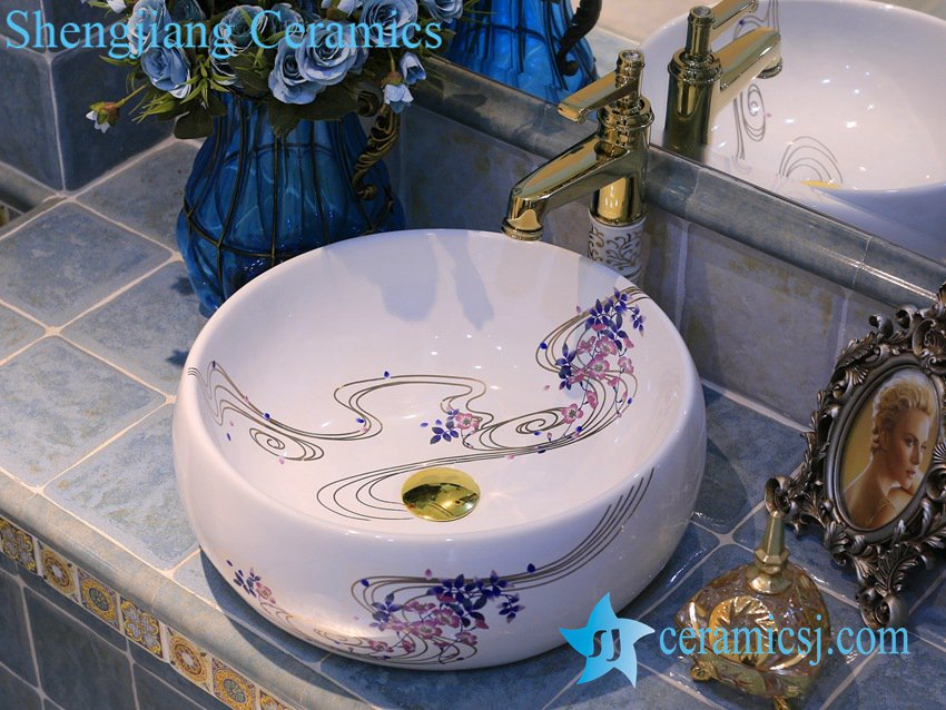 LT-X1A4395 LT-X1A4395 Jingdezhen art ceramic wash basin / unique bathroom sink - shengjiang  ceramic  factory   porcelain art hand basin wash sink