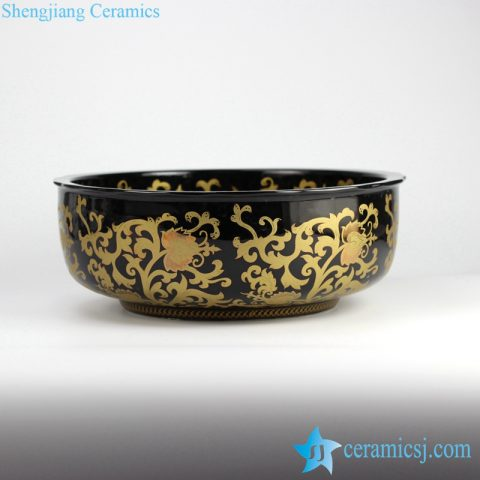 RYXW-YL-DZ-05 Black glazed golden floral pattern straight wall round cupboard bath chinaware wash basin