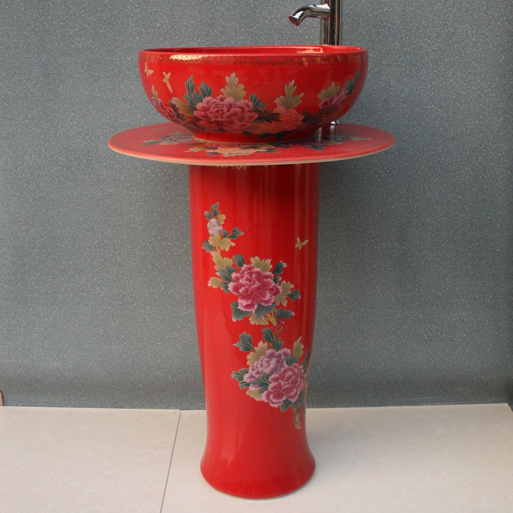 RYXW034_4 RYXW034 Chinese red flower design Ceramic Pedestal Lavatory Sink - shengjiang  ceramic  factory   porcelain art hand basin wash sink