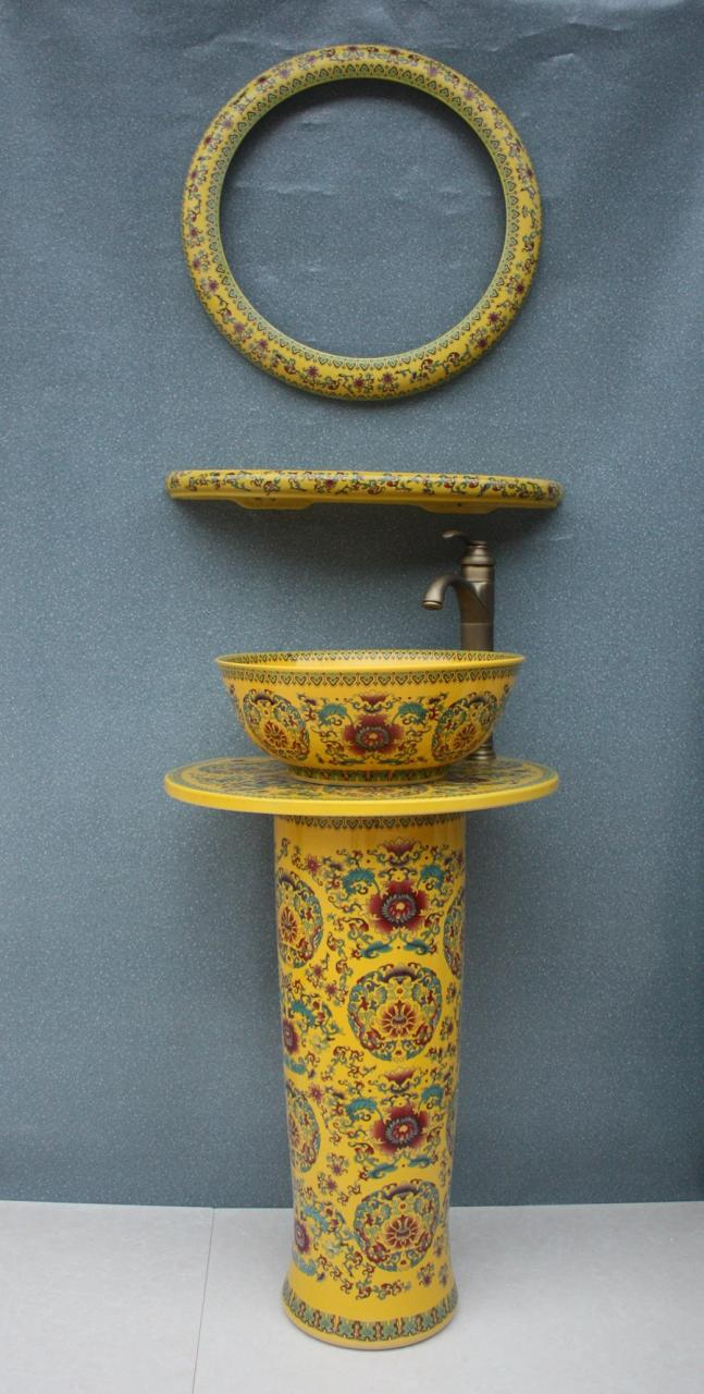 RYXW035_15 RYXW035 Chinese yellow flower design Ceramic Pedestal Lavatory Sink - shengjiang  ceramic  factory   porcelain art hand basin wash sink