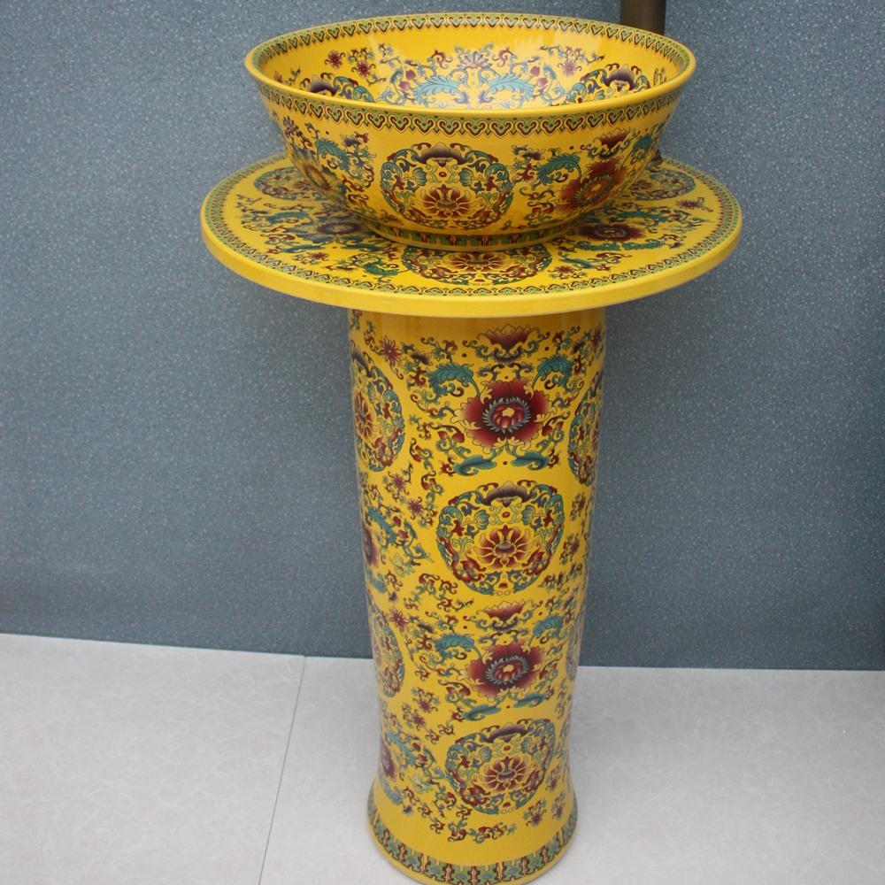 RYXW035_7 RYXW035 Chinese yellow flower design Ceramic Pedestal Lavatory Sink - shengjiang  ceramic  factory   porcelain art hand basin wash sink