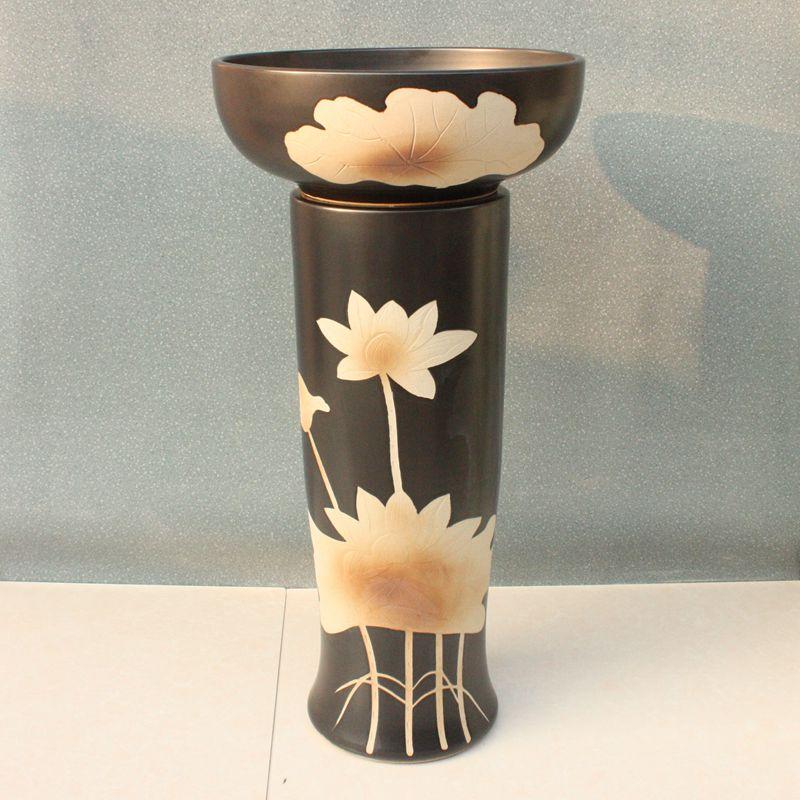 RYXW054_1 Engraved design Ceramic Pedestal Lavatory Basin - shengjiang  ceramic  factory   porcelain art hand basin wash sink