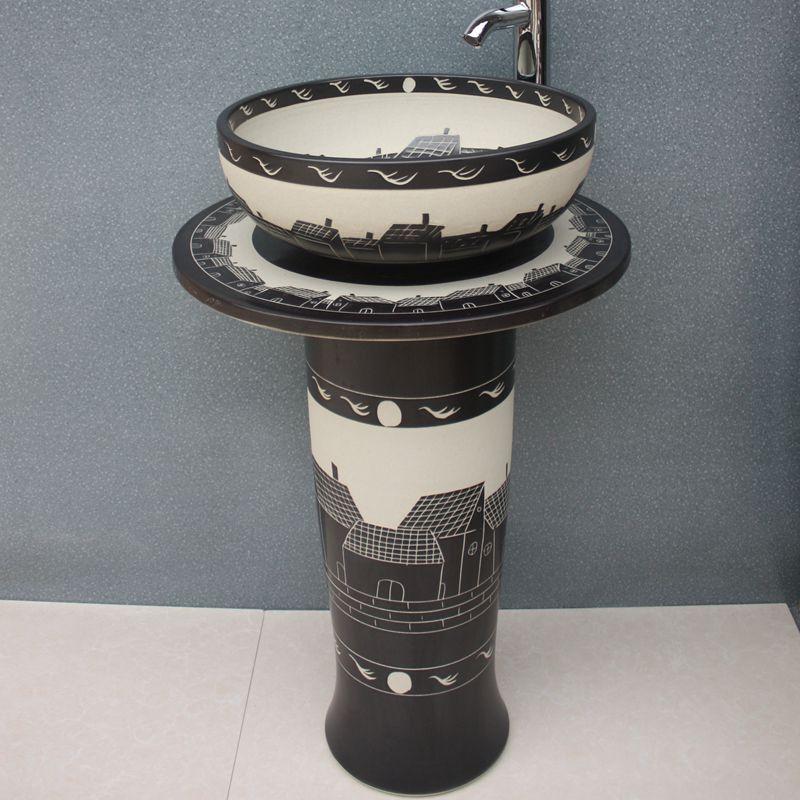 RYXW055_8 Engraved design Ceramic Pedestal Lavatory Basin - shengjiang  ceramic  factory   porcelain art hand basin wash sink