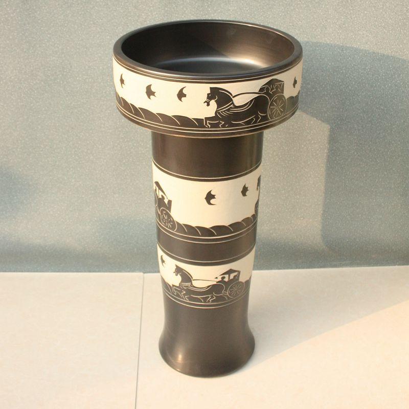 RYXW056_4 Engraved design Ceramic Pedestal Lavatory Basin - shengjiang  ceramic  factory   porcelain art hand basin wash sink