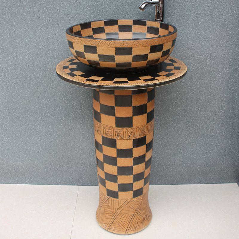 RYXW057_8 RYXW057 Engraved design Ceramic Pedestal Lavatory Basin - shengjiang  ceramic  factory   porcelain art hand basin wash sink