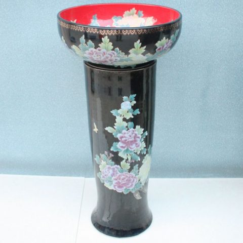 RYXW071 Black red flower design Ceramic Pedestal bathroom sanitary sets
