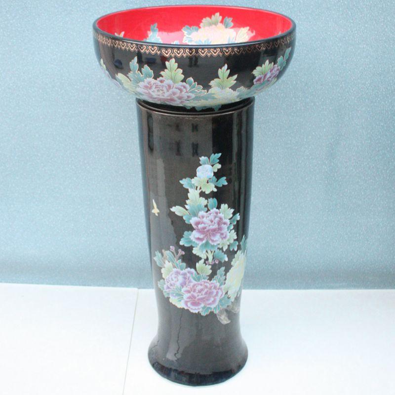 RYXW071_3 RYXW071 Black red flower design Ceramic Pedestal bathroom sanitary sets - shengjiang  ceramic  factory   porcelain art hand basin wash sink