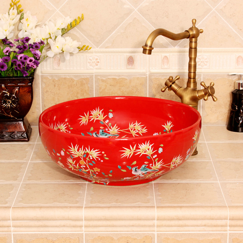 RYXW250_1 Bamboo and bird design, red, white, yellow blue color Ceramic Bathroom Sink - shengjiang  ceramic  factory   porcelain art hand basin wash sink