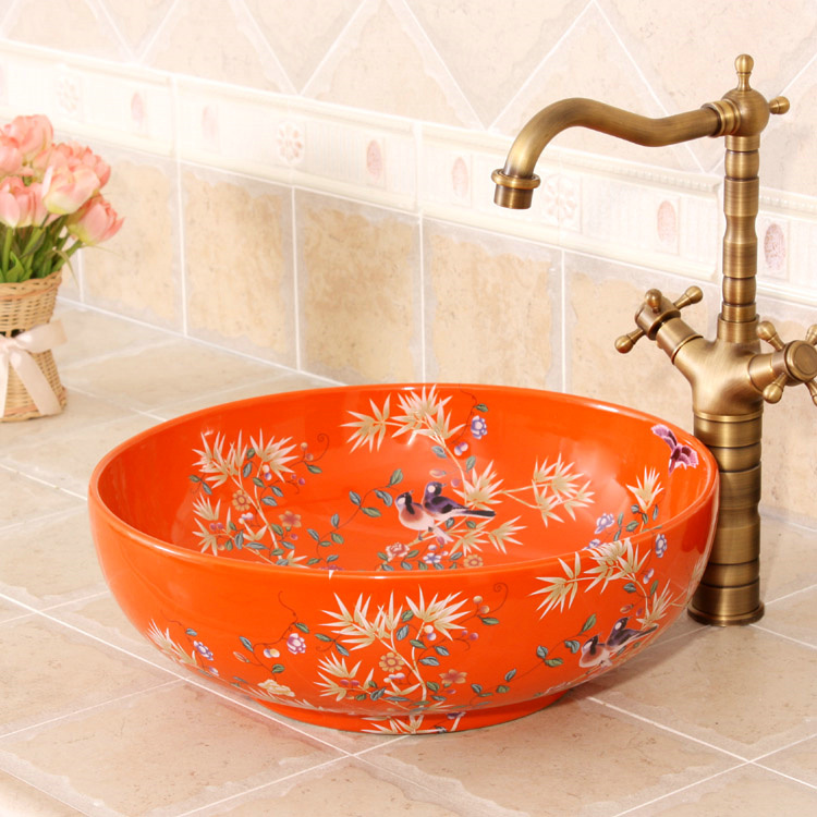 RYXW252_5 Bamboo and bird design, red, white, yellow blue color Ceramic Bathroom Sink - shengjiang  ceramic  factory   porcelain art hand basin wash sink