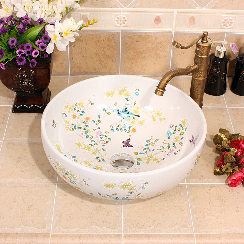 RYXW253_2 Bamboo and bird design, red, white, yellow blue color Ceramic Bathroom Sink - shengjiang  ceramic  factory   porcelain art hand basin wash sink