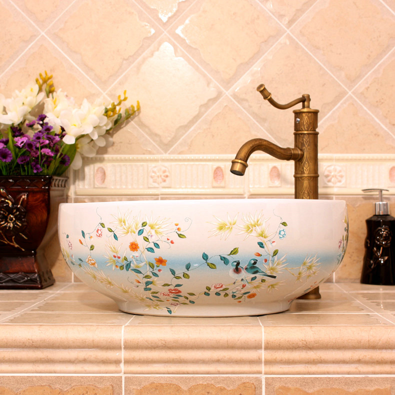RYXW255_3 Bamboo and bird design, red, white, yellow blue color Ceramic Bathroom Sink - shengjiang  ceramic  factory   porcelain art hand basin wash sink