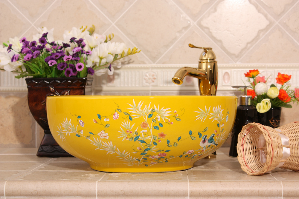 RYXW256_2 Bamboo and bird design, red, white, yellow blue color Ceramic Bathroom Sink - shengjiang  ceramic  factory   porcelain art hand basin wash sink
