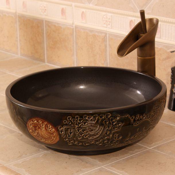 RYXW272_6 Carved horses design Ceramic Bathroom Sink - shengjiang  ceramic  factory   porcelain art hand basin wash sink
