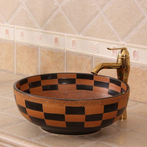 RYXW273_6 RYXW273 Carved tartan design Ceramic Bathroom Sink - shengjiang  ceramic  factory   porcelain art hand basin wash sink