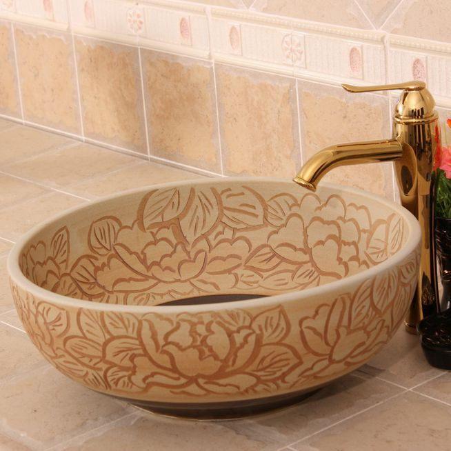 RYXW274_6 RYXW274 Carved matte flower design Ceramic Bathroom Sink - shengjiang  ceramic  factory   porcelain art hand basin wash sink