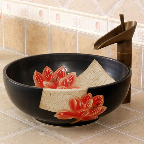 RYXW276_1 RYXW276 Carved red flower design Ceramic Bathroom Sink - shengjiang  ceramic  factory   porcelain art hand basin wash sink