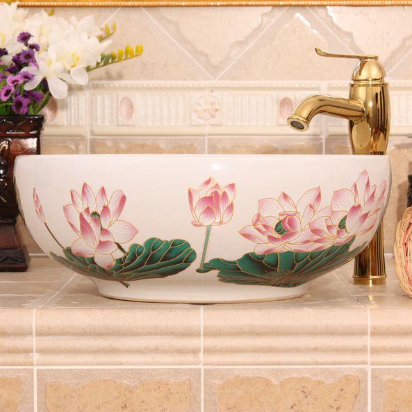 RYXW293_2 Waterlily design, white, yellow Ceramic Bathroom Sink - shengjiang  ceramic  factory   porcelain art hand basin wash sink