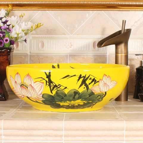 Waterlily design, white, yellow Ceramic Bathroom Sink