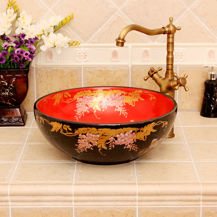 RYXW318_1 RYXW318 Black red floral design Jingdezhen Ceramic Bathroom Wash basin - shengjiang  ceramic  factory   porcelain art hand basin wash sink