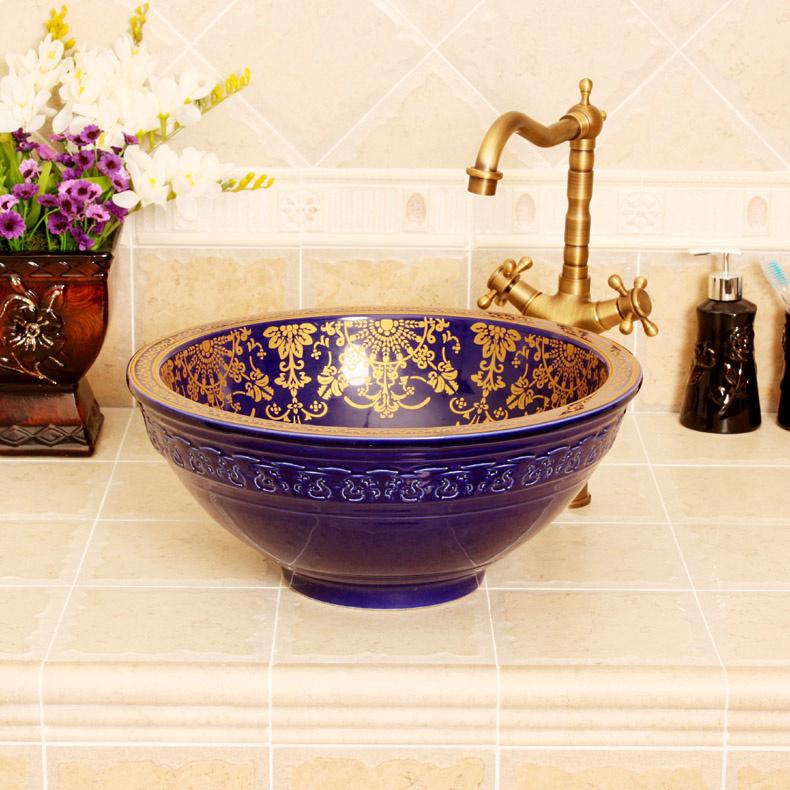 RYXW320_1 RYXW320 Blue gold floral design Jingdezhen Ceramic Bathroom Wash basin - shengjiang  ceramic  factory   porcelain art hand basin wash sink