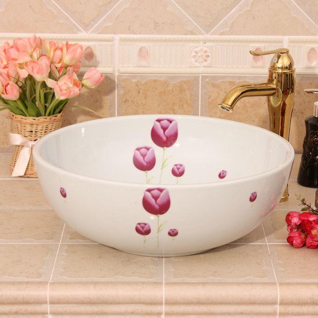 RYXW321_1 RYXW321 White with red flower design Jingdezhen Ceramic Bathroom Wash basin - shengjiang  ceramic  factory   porcelain art hand basin wash sink