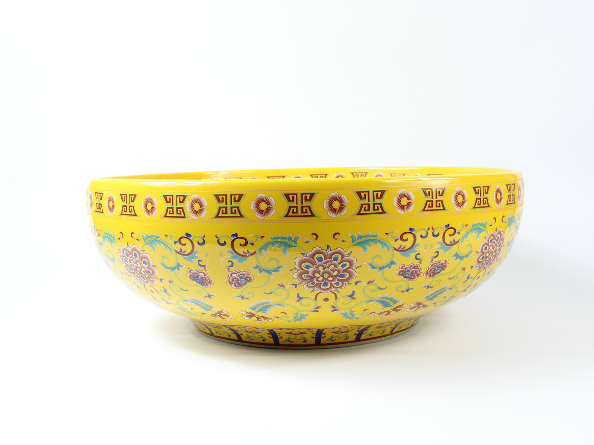 RYXW325_1489H15W41J3100 RYXW325 16″ Jingdezhen ceramic art washbasin yellow glazed floral design - shengjiang  ceramic  factory   porcelain art hand basin wash sink