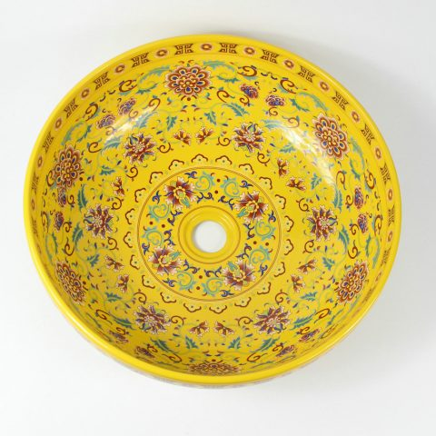 RYXW325 16″ Jingdezhen ceramic art washbasin yellow glazed floral design