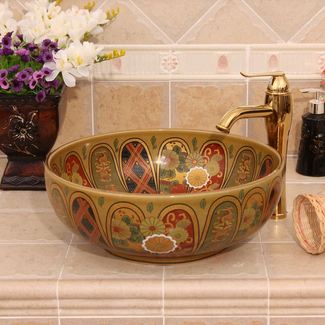 RYXW341_1 Jingdezhen Ceramic sanitary ware china colored wash basin - shengjiang  ceramic  factory   porcelain art hand basin wash sink